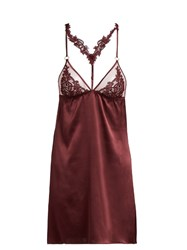 Fleur Of England Guipure Lace And Silk Blend Camisole Burgundy