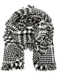 Simone Rocha Frilled Edge Checked Scarf Black
