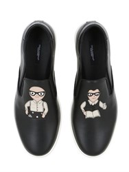 Dolce And Gabbana Designers Patch Leather Slip On Sneakers