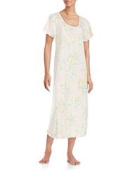 Miss Elaine Lace Accented Floral Nightgown Pink Multi