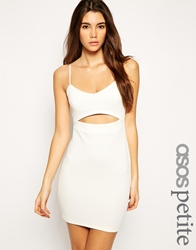 Asos Petite Exclusive Textured Bodycon Dress With Cut Out Cream