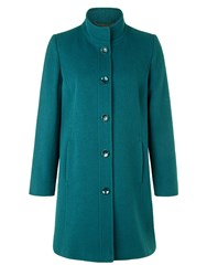 Eastex Teal Funnel Neck Coat Turquoise