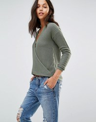 Hollister Wrap Front Ballerina Knit Sweater Olive Green
