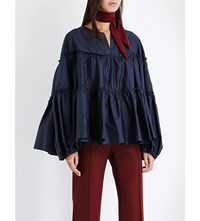 Chloe Tiered Ruched Silk Shell Blouse Dark Blue