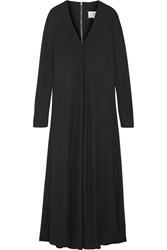 Maison Martin Margiela Pleated Crepe Maxi Dress Black