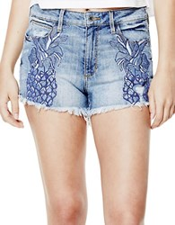 Guess Embroidered Pineapple Shorts Destructed