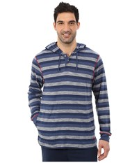 Tommy Bahama Heather Cotton Modal Feeder Stripe Knit Long Sleeve Hoodie Indigo Heather Men's Long Sleeve Pullover Blue