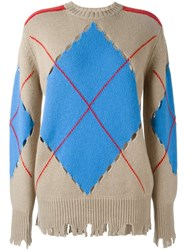 Msgm 'Distressed Argyle' Sweater Nude And Neutrals