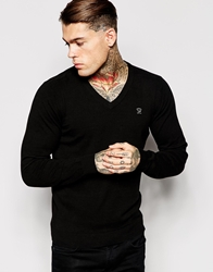 Diesel V Neck Knit Jumper K Benti Lightweight Black