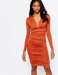 Ax Paris V Neck Bodycon Midi Dress With Ruching Rust Red