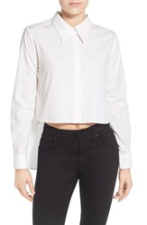 Women's Kendall Kylie Crop Open Back Shirt White