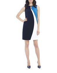 Ellen Tracy Asymmetrical Seamed Shift Dress Navy