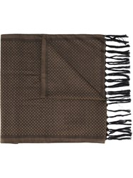 Eleventy Dotted Fringed Scarf Brown