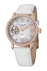 Stuhrling Women's Memoire Diamond Alligator Embossed Watch White