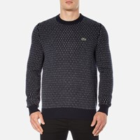 Lacoste L Ve Men's Crew Neck Jumper Navy Blue White