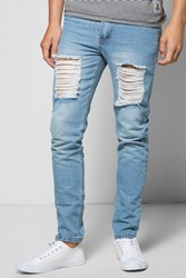 Boohoo Fit Rigid Jeans With Extreme Knee Rips Blue