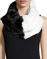 Badgley Mischka Colorblock Faux Fur Cowl Collar Blk Wht