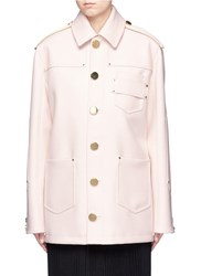 Givenchy Nappa Leather Patch Felted Wool Coat Pink
