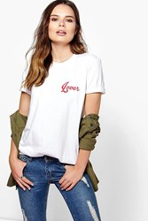 Boohoo Slogan Oversized T Shirt White