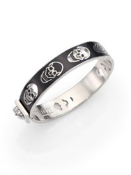 Alexander Mcqueen Small Enamel And Sterling Silver Cutout Skull Bangle Bracelet White Black