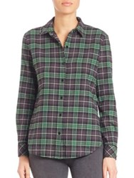 Elizabeth And James Cotton Button Down Plaid Shirt Bottle Green