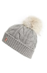 Moncler Women's 'Berreto' Wool And Cashmere Cable Knit Beanie With Genuine Coyote Fur Pom
