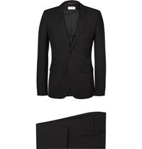 Saint Laurent Black Slim Fit Virgin Wool Twill Suit Black