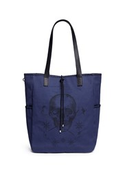 Alexander Mcqueen Skull Tattoo Print Canvas Tote Bag Blue