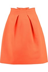 Roland Mouret Kava Pleated Wool Crepe Mini Skirt Orange