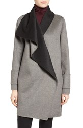 Calvin Klein Women's Double Face Drape Front Coat Tin Charcoal