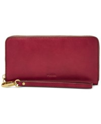 Fossil Emma Rfid Large Zip Clutch Wallet Crimson