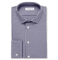 Richard James Slim Fit Houndstooth Cotton Shirt Navy