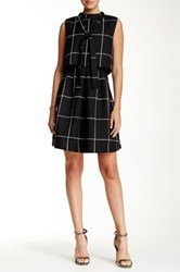 Gracia Windowpane Self Tie Popover Dress Black