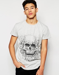 Rock And Religion Patterned Skull T Shirt Grey