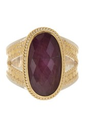 Anna Beck 18K Gold Plated Sterling Silver Oval Ruby Ring Metallic
