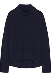 Helmut Lang Ribbed Wool And Cashmere Blend Turtleneck Sweater Midnight Blue