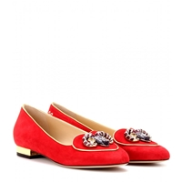 Charlotte Olympia Aries Suede Slipper Style Loafers Red