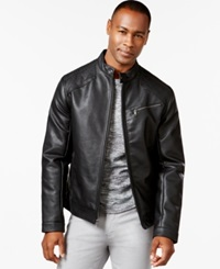 Inc International Concepts Chen Faux Leather Bomber Jacket Only At Macy's Black