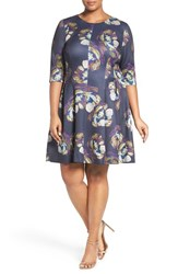 Gabby Skye Plus Size Women's Floral Print Scuba Knit Fit And Flare Dress