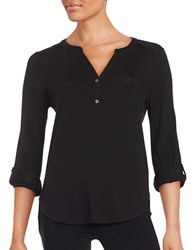Lord And Taylor Petite Hi Lo Knit Blouse Black
