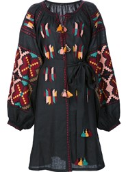 Vita Kin Embroidered Peasant Dress Black
