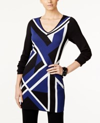 Inc International Concepts Colorblocked Jacquard Tunic Only At Macy's Tartan Blue