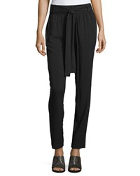 Neiman Marcus Soft Relaxed Fit Tie Waist Pants Black