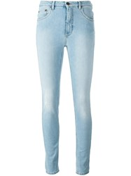 Off White High Waisted Jeans Blue