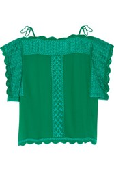 Etoile Isabel Marant Audrina Embroidered Chiffon Top Forest Green