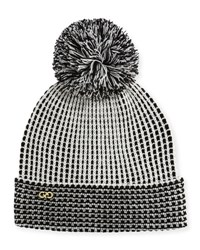 Cole Haan Thermal Pom Pom Knit Hat Ivory Blac