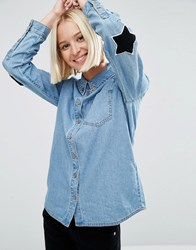 Asos Denim Shirt In Cali Light Wash With Elbow Patches Cali Light Wash Blue