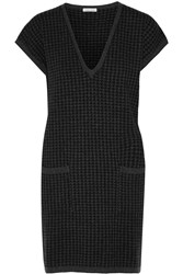 Tomas Maier Houndstooth Cashmere Mini Dress Gray