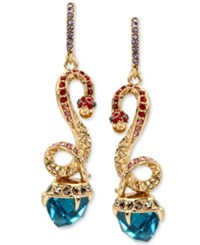 Betsey Johnson Gold Tone Pave Snake And Blue Faceted Stone Drop Earrings Multi