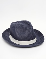 Reiss Paper Hat With Contrast Cream Band Blue